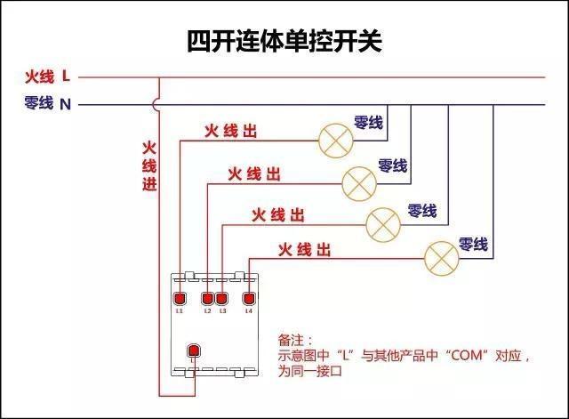 多联连体单控开关接线图